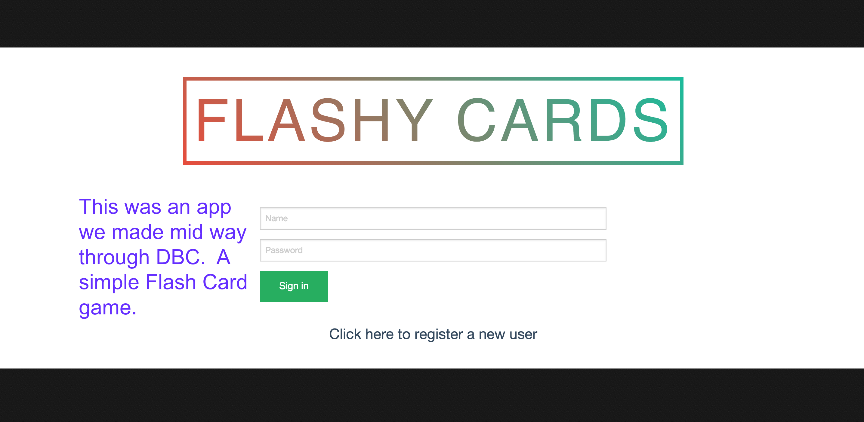 Flashy Cards Login